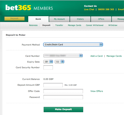 Bet365 Debit/Credit Card Deposit Screen
