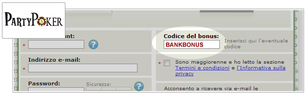 Codice del Bonus Party Poker