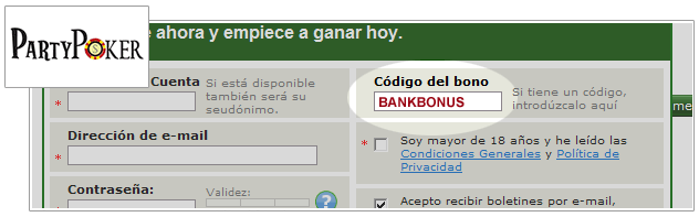 Código de Bono de Party Poker
