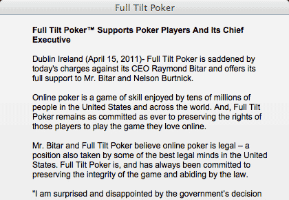 Full Tilt Website Message To Players
