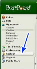 The Cashier Button In The Sidebar At Party Poker
