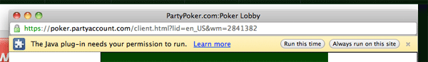 Party Poker Instant Play Java Plugin
