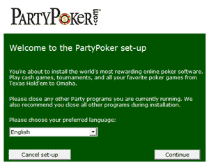 Party Poker Set Up Screen