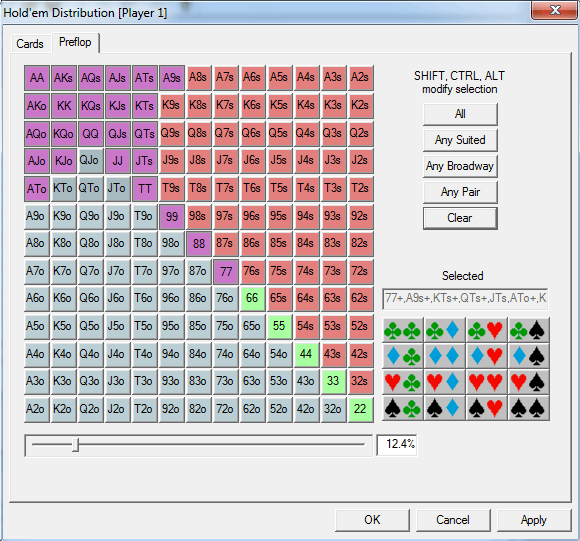 Online poker range equity calculator