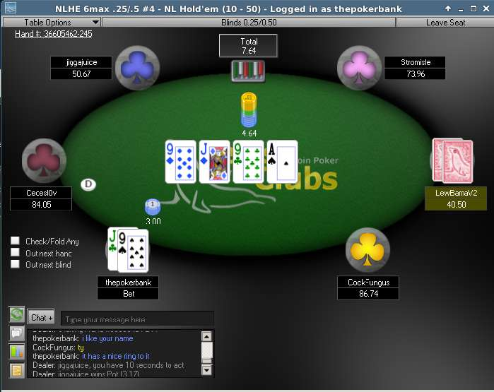 Seals With Clubs - screenshot of thepokerbank playing exquisite pokers.