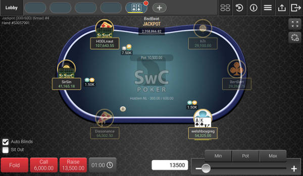 Screenshot of SwC Poker Table